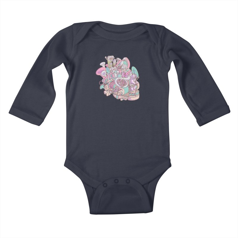 Smooth jazz spaceship Kids Baby Longsleeve Bodysuit by makapa's Artist Shop