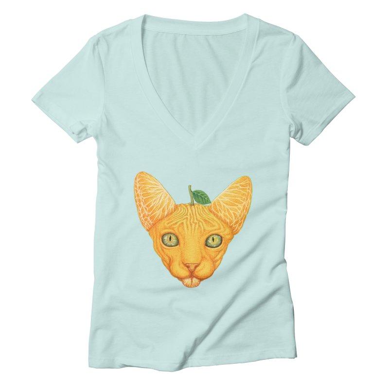 Orange cat Women's V-Neck by makapa's Artist Shop