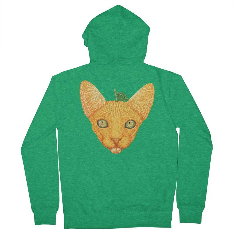 Orange cat Men's Zip-Up Hoody by makapa's Artist Shop