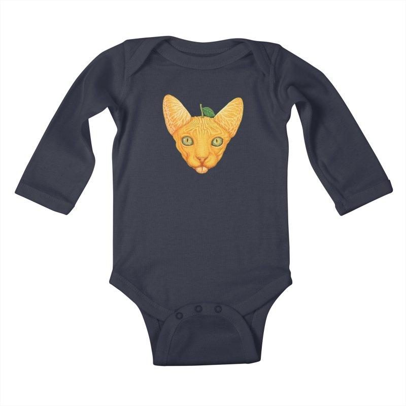 Orange cat Kids Baby Longsleeve Bodysuit by makapa's Artist Shop