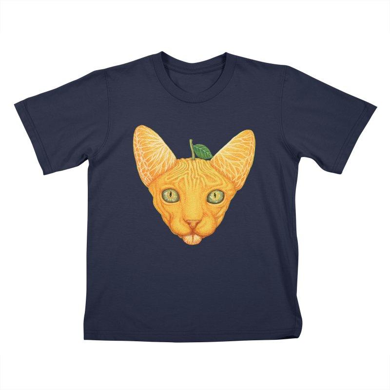 Orange cat Kids T-Shirt by makapa's Artist Shop