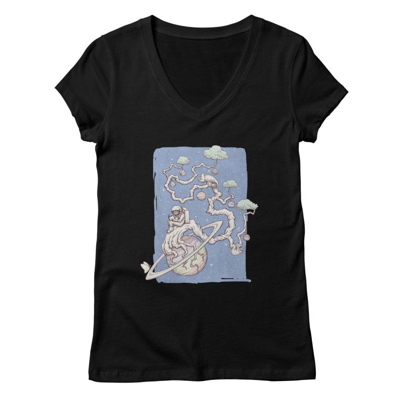 zen on space Women's V-Neck by makapa's Artist Shop