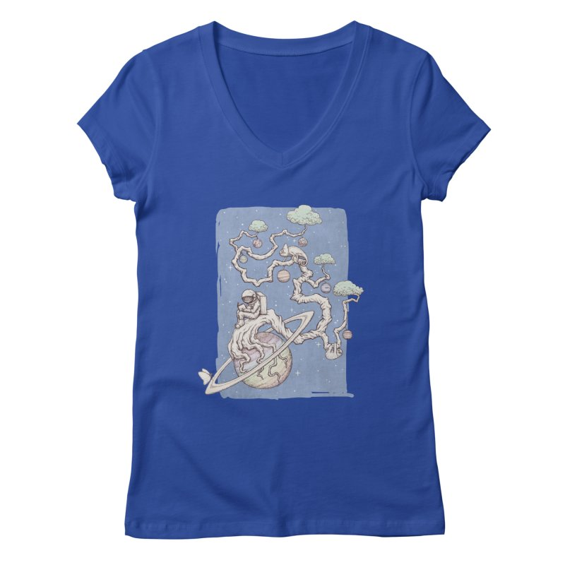zen on space Women's V-Neck by makapa's Artist Shop