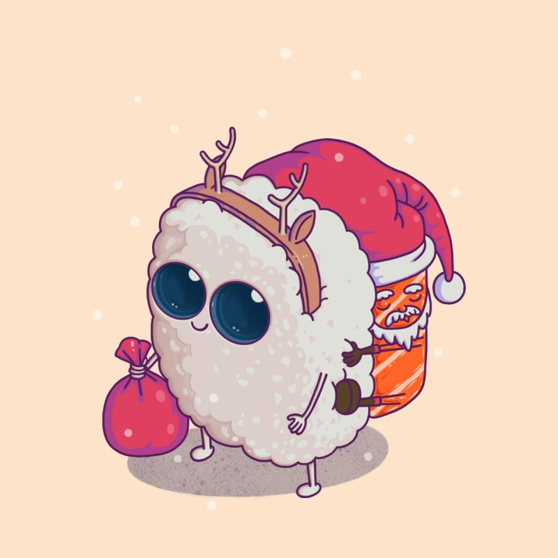 happy santa sushi None  by makapa's Artist Shop