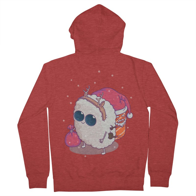 happy santa sushi Men's Zip-Up Hoody by makapa's Artist Shop