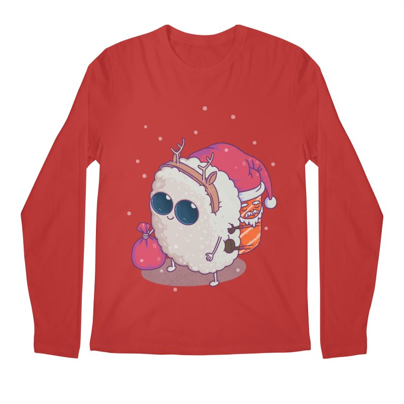 happy santa sushi Men's Longsleeve T-Shirt by makapa's Artist Shop