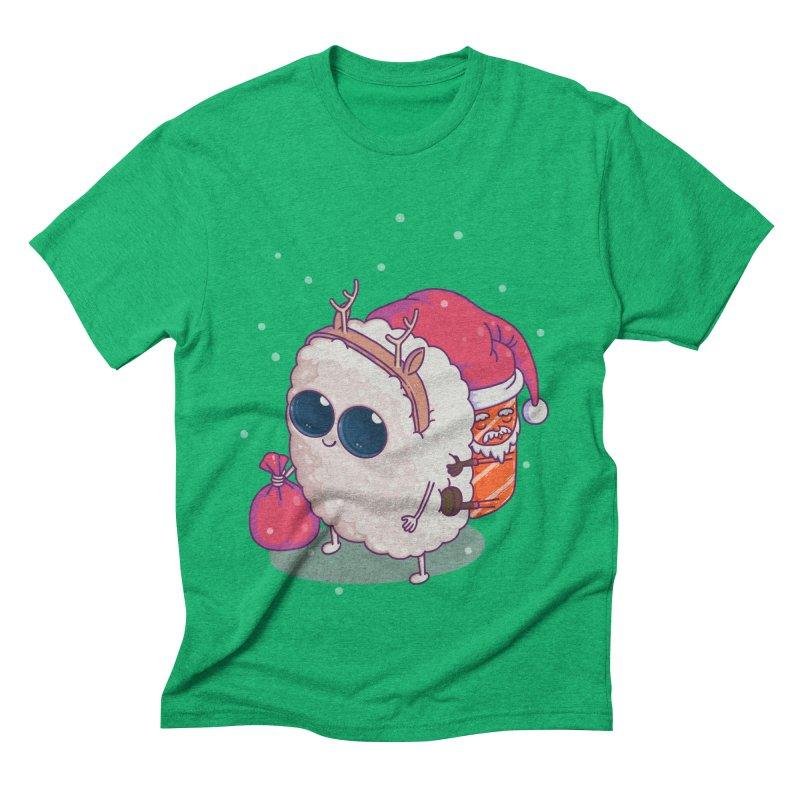 happy santa sushi Men's Triblend T-Shirt by makapa's Artist Shop
