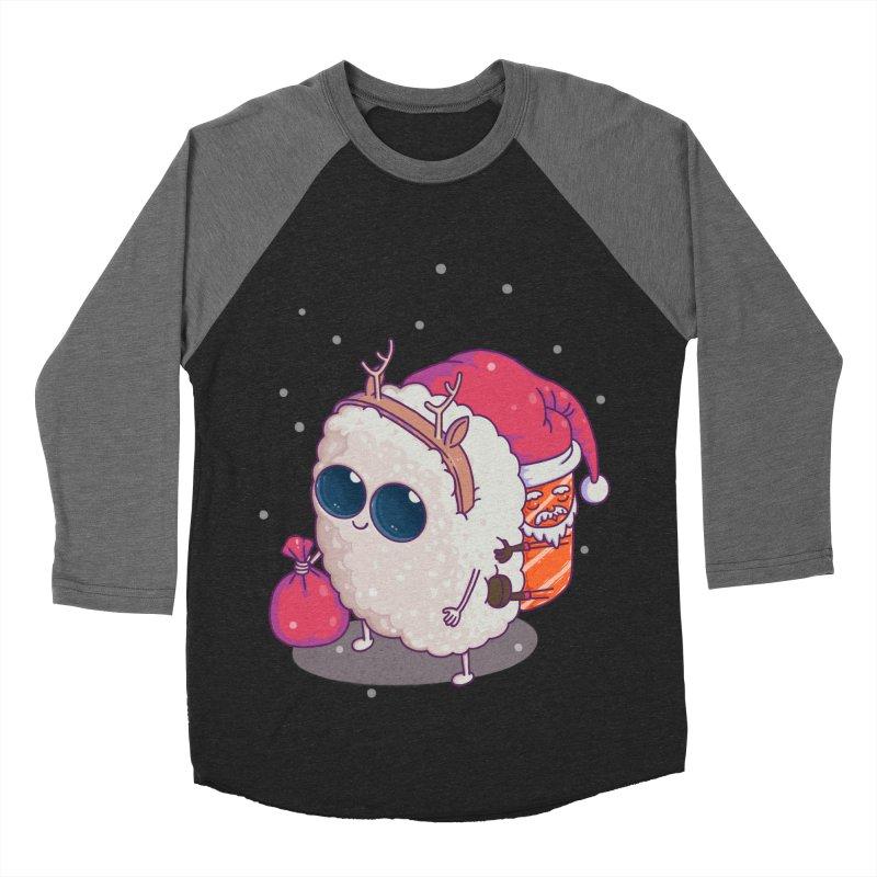 happy santa sushi Women's Baseball Triblend T-Shirt by makapa's Artist Shop