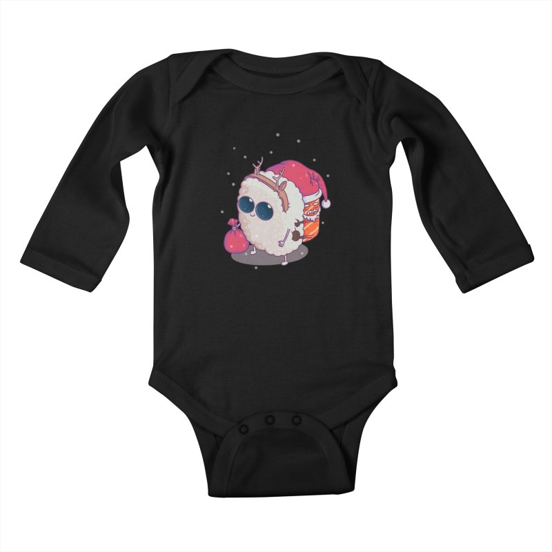 happy santa sushi Kids Baby Longsleeve Bodysuit by makapa's Artist Shop