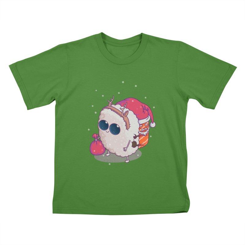 happy santa sushi Kids T-shirt by makapa's Artist Shop
