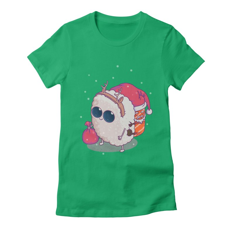 happy santa sushi Women's Fitted T-Shirt by makapa's Artist Shop
