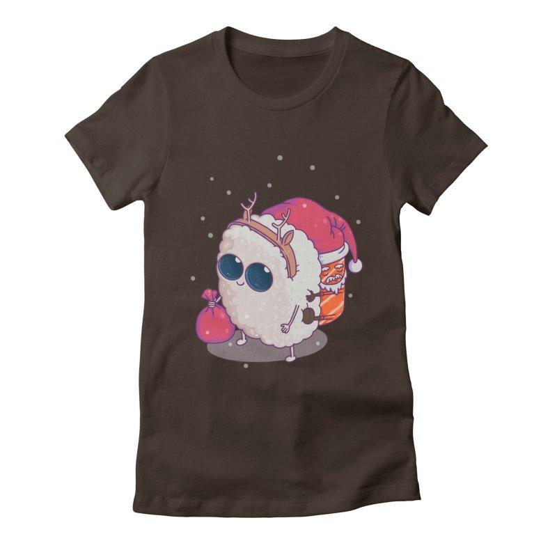 happy santa sushi Women's Fitted T-Shirt by makapa's Artist Shop