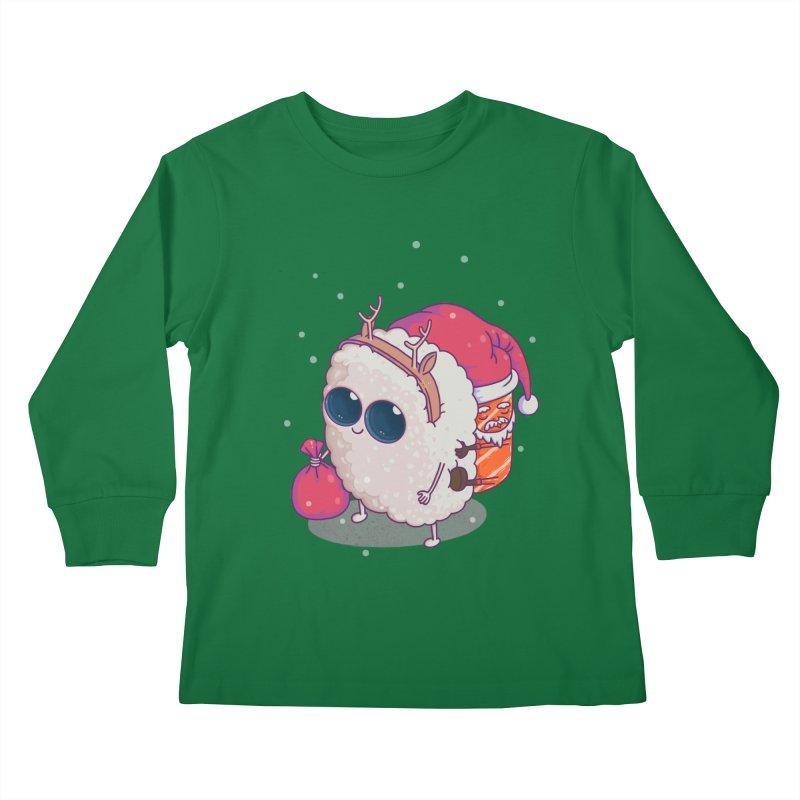happy santa sushi Kids Longsleeve T-Shirt by makapa's Artist Shop