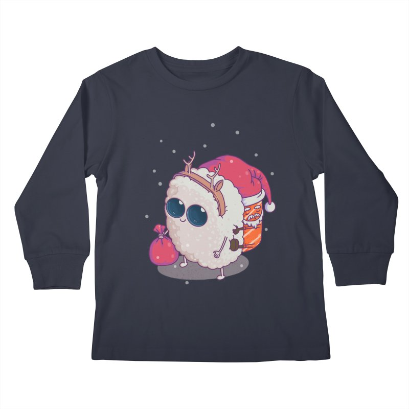 happy santa sushi Kids Longsleeve T-Shirt by makapa's Artist Shop