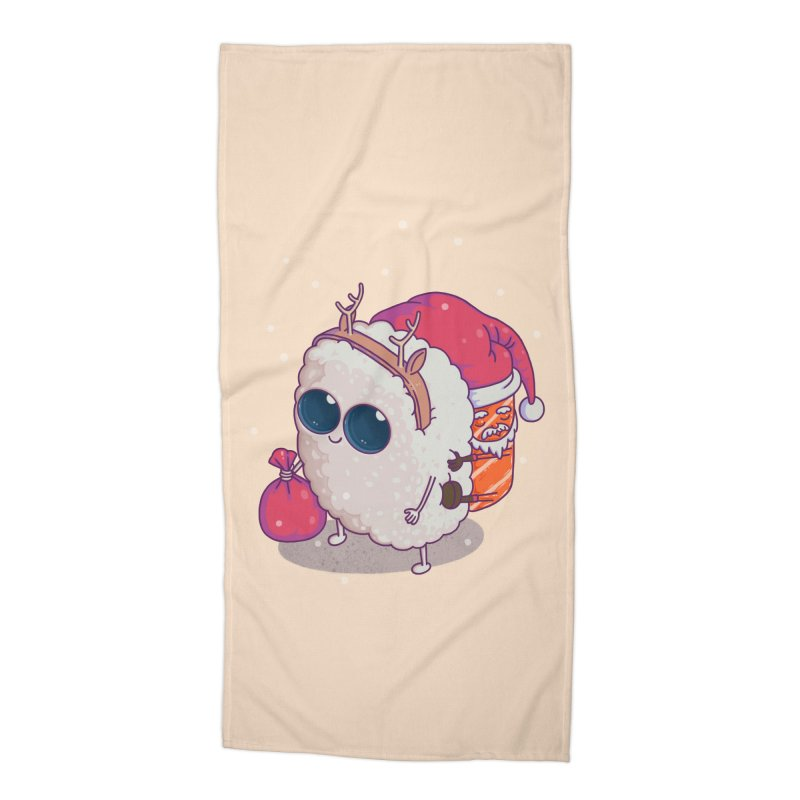 happy santa sushi Accessories Beach Towel by makapa's Artist Shop
