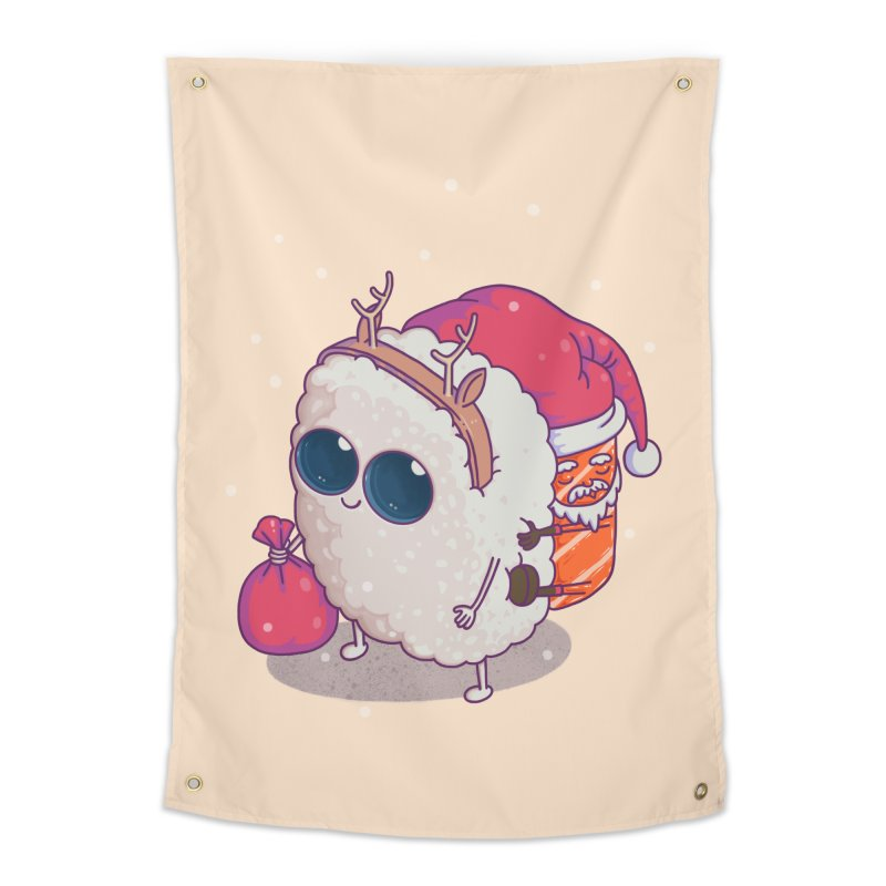 happy santa sushi Home Tapestry by makapa's Artist Shop