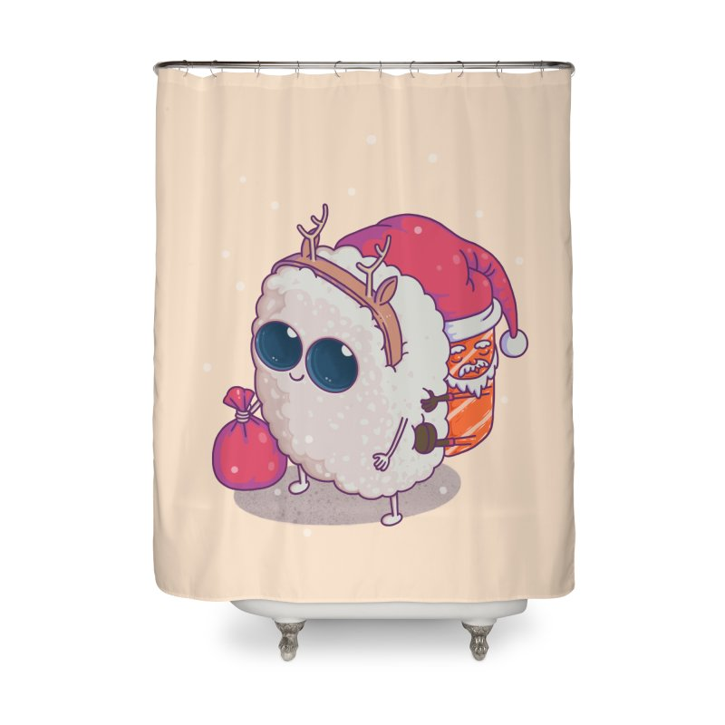 happy santa sushi Home Shower Curtain by makapa's Artist Shop
