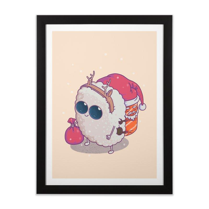 happy santa sushi Home Framed Fine Art Print by makapa's Artist Shop