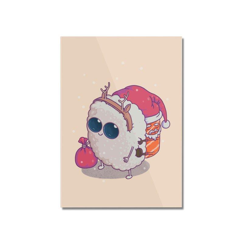 happy santa sushi Home Mounted Acrylic Print by makapa's Artist Shop