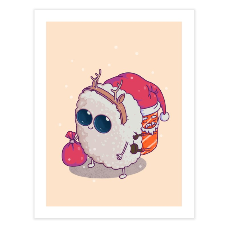 happy santa sushi Home Fine Art Print by makapa's Artist Shop