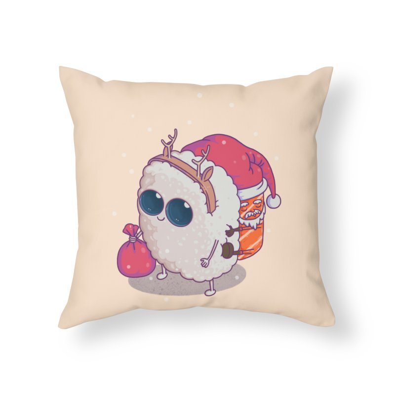 happy santa sushi Home Throw Pillow by makapa's Artist Shop