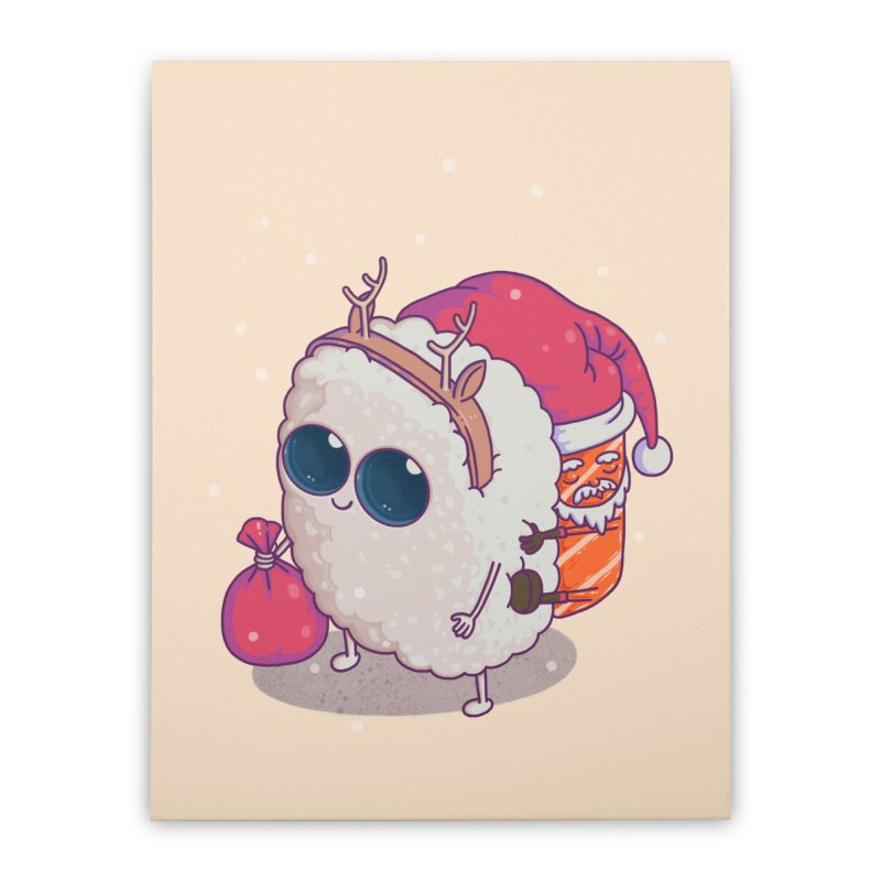 happy santa sushi Home Stretched Canvas by makapa's Artist Shop