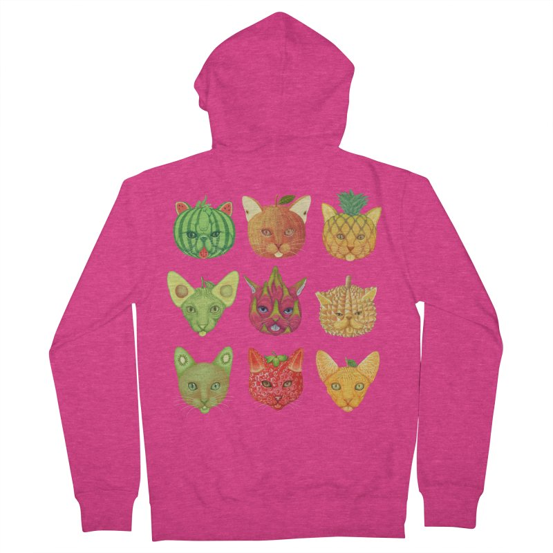 cat or fruit Women's French Terry Zip-Up Hoody by makapa's Artist Shop