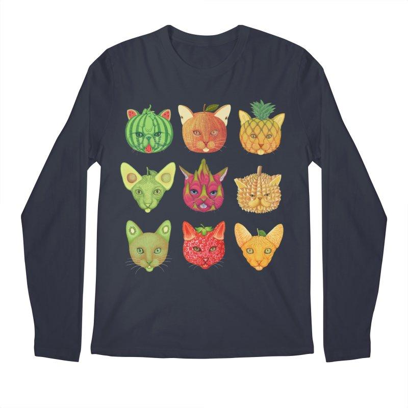 cat or fruit Men's Regular Longsleeve T-Shirt by makapa's Artist Shop