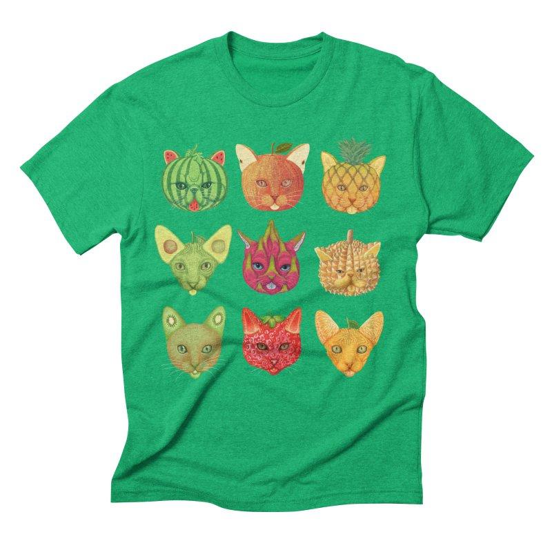 cat or fruit Men's Triblend T-Shirt by makapa's Artist Shop