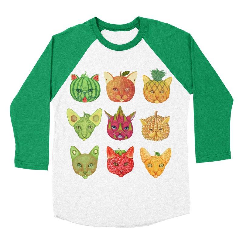 cat or fruit Men's Baseball Triblend T-Shirt by makapa's Artist Shop