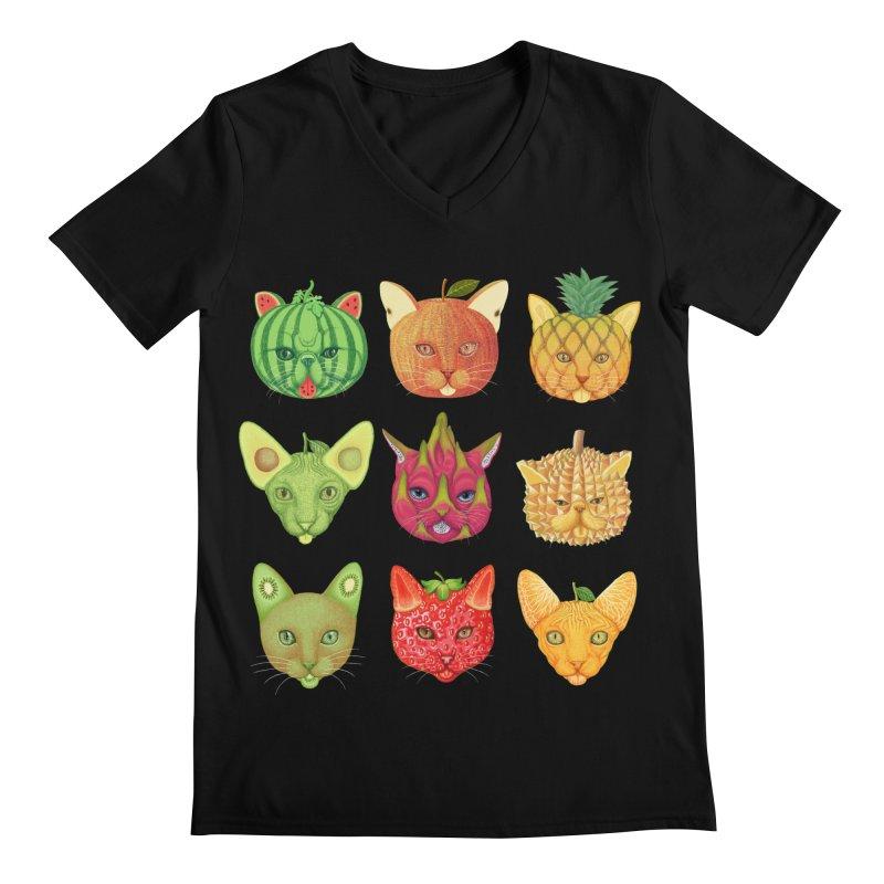 cat or fruit Men's V-Neck by makapa's Artist Shop
