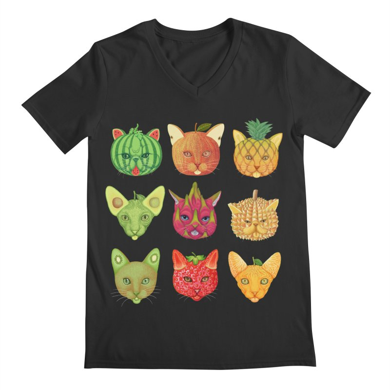 cat or fruit Men's V-Neck by makapa's Artist Shop