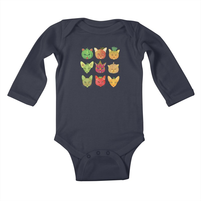 cat or fruit Kids Baby Longsleeve Bodysuit by makapa's Artist Shop