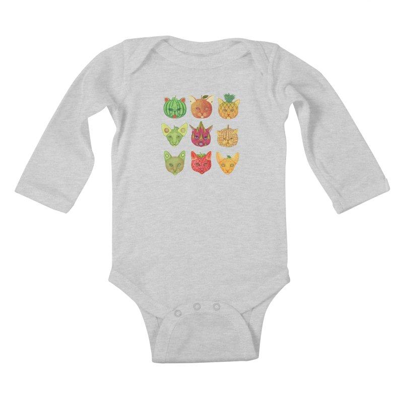 cat or fruit Kids Baby Longsleeve Bodysuit by makapa's Artist Shop
