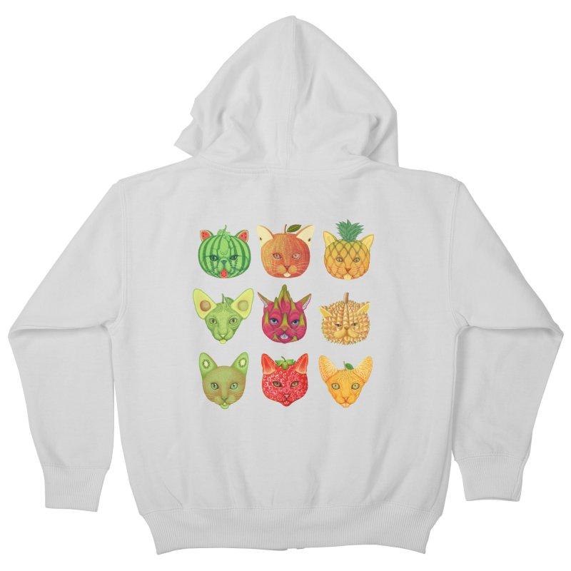 cat or fruit Kids Zip-Up Hoody by makapa's Artist Shop