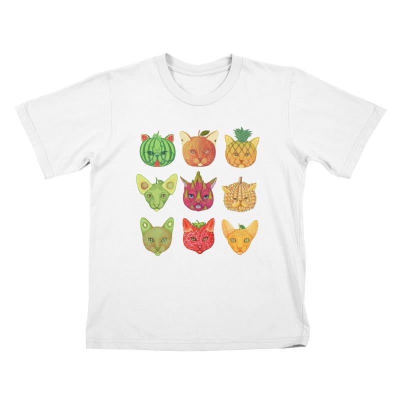 cat or fruit Kids T-Shirt by makapa's Artist Shop