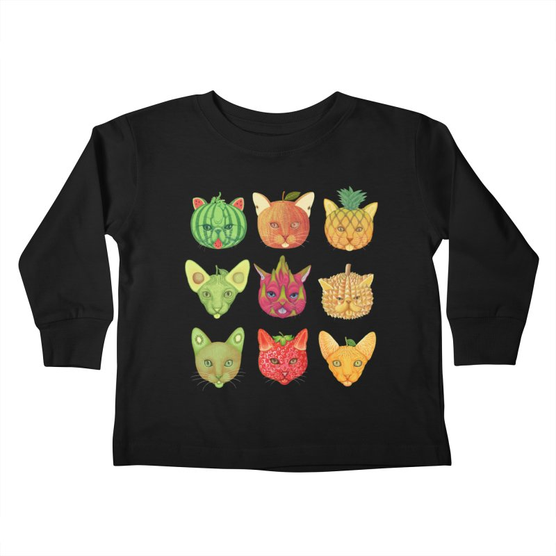 cat or fruit Kids Toddler Longsleeve T-Shirt by makapa's Artist Shop