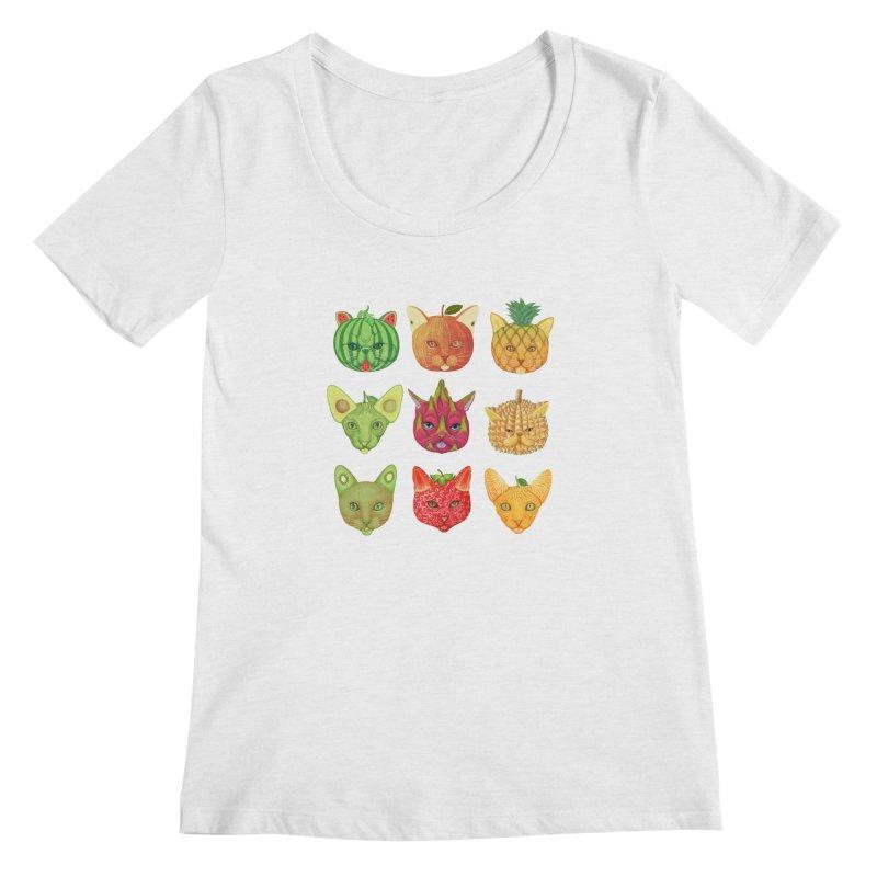 cat or fruit Women's Scoop Neck by makapa's Artist Shop