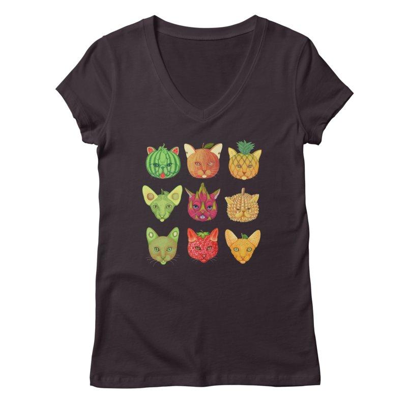 cat or fruit Women's V-Neck by makapa's Artist Shop