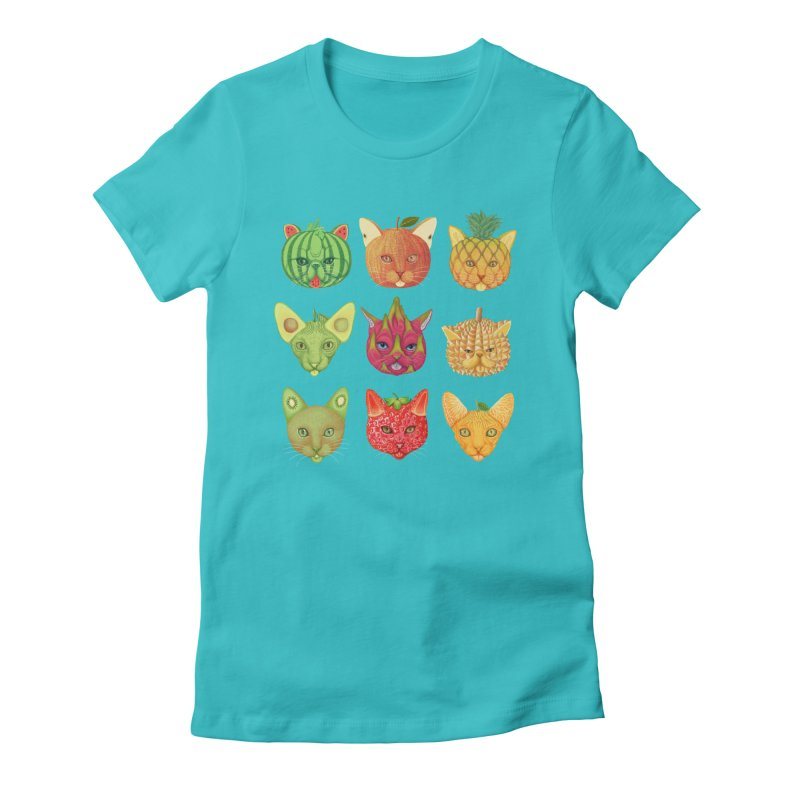 cat or fruit Women's Fitted T-Shirt by makapa's Artist Shop