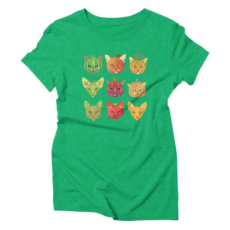 cat or fruit Women's Triblend T-Shirt by makapa's Artist Shop