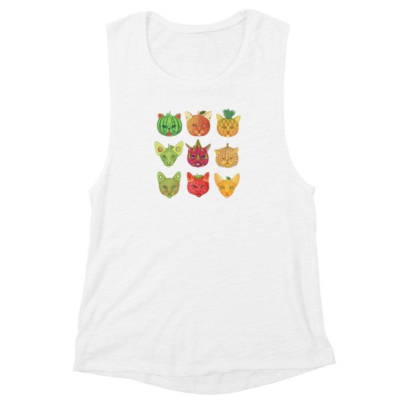cat or fruit Women's Muscle Tank by makapa's Artist Shop