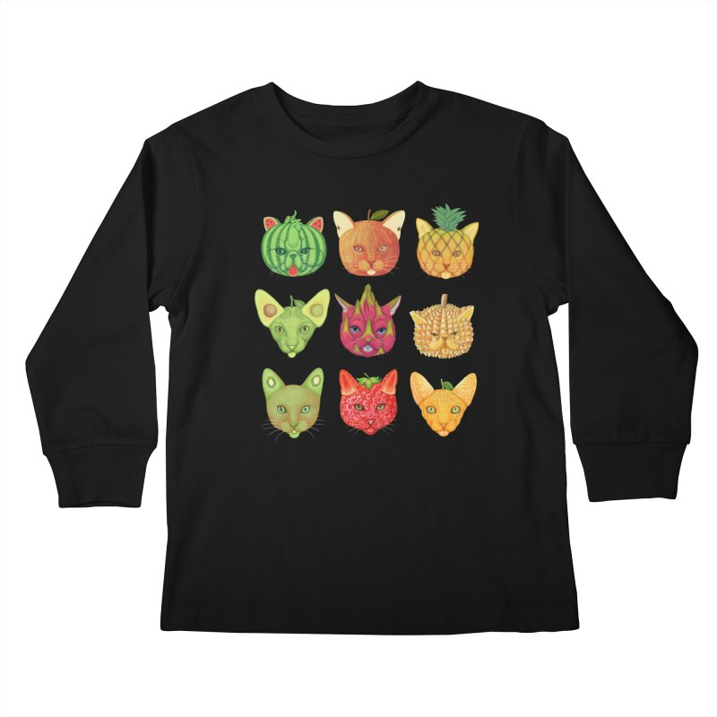 cat or fruit Kids Longsleeve T-Shirt by makapa's Artist Shop