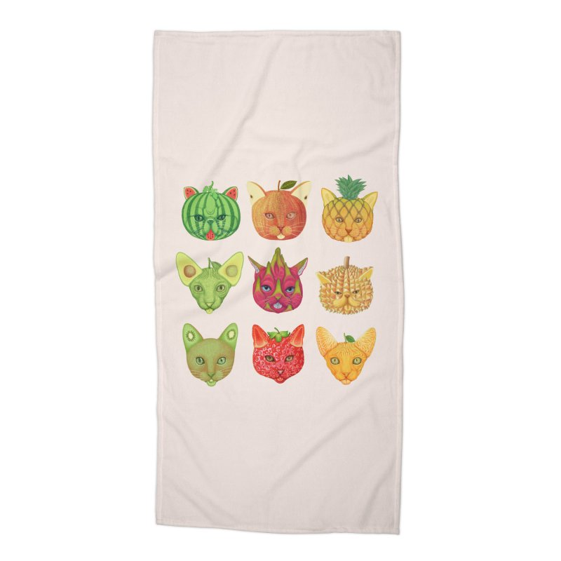 cat or fruit Accessories Beach Towel by makapa's Artist Shop