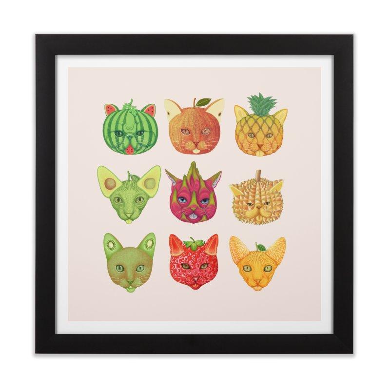 cat or fruit Home Framed Fine Art Print by makapa's Artist Shop