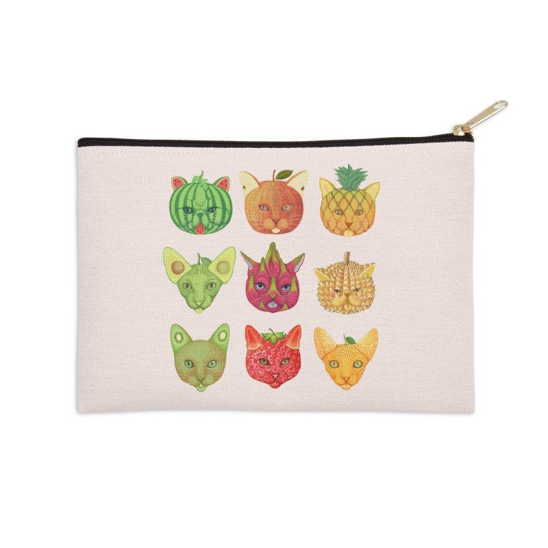 cat or fruit Accessories Zip Pouch by makapa's Artist Shop
