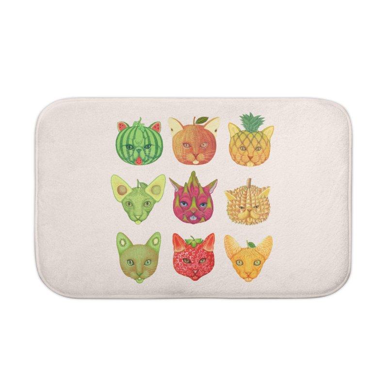 cat or fruit Home Bath Mat by makapa's Artist Shop