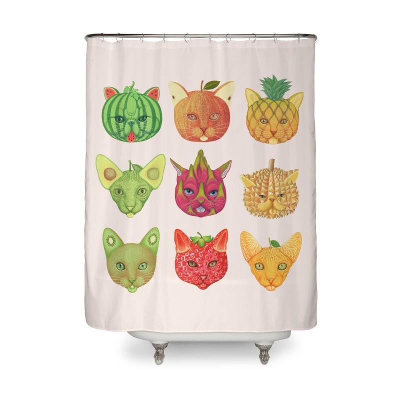 cat or fruit Home Shower Curtain by makapa's Artist Shop