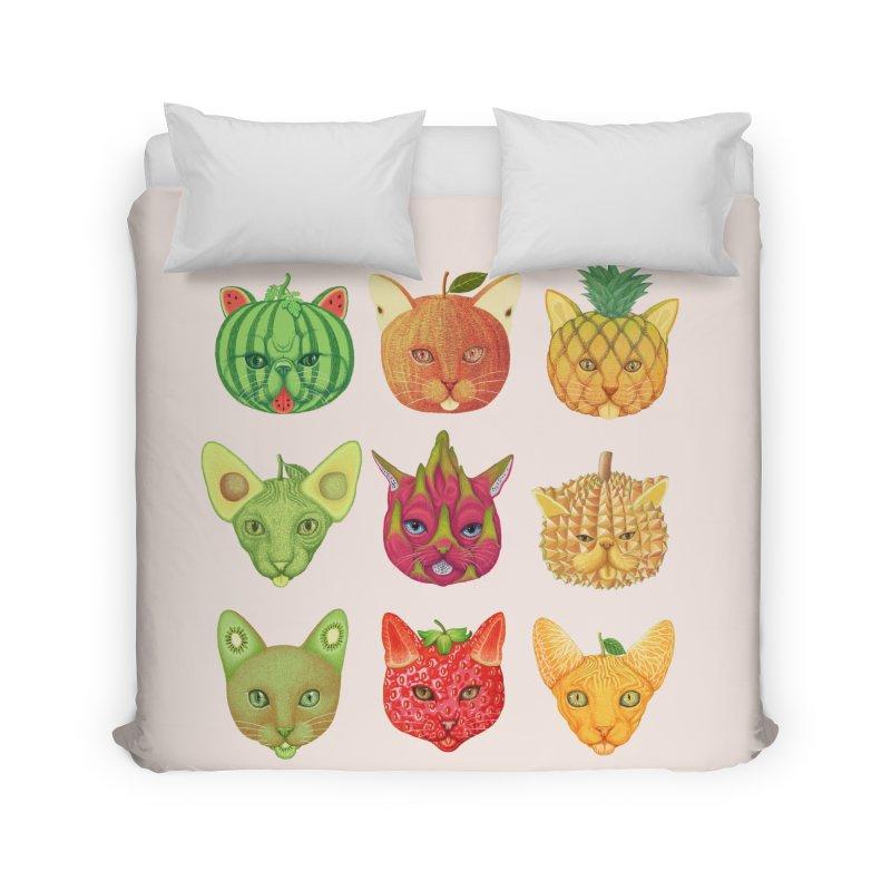 cat or fruit Home Duvet by makapa's Artist Shop