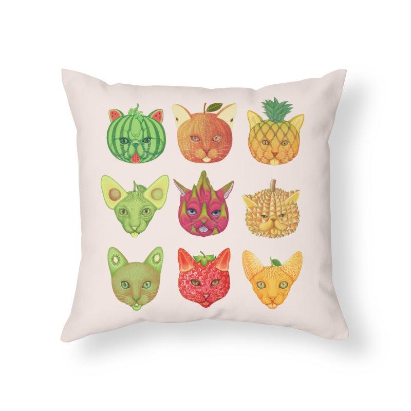cat or fruit Home Throw Pillow by makapa's Artist Shop